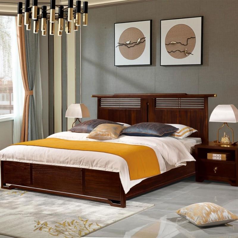 居兴闻檀实木家具大床床头柜卧房套衣柜衣橱  新中式实木卧房套5
