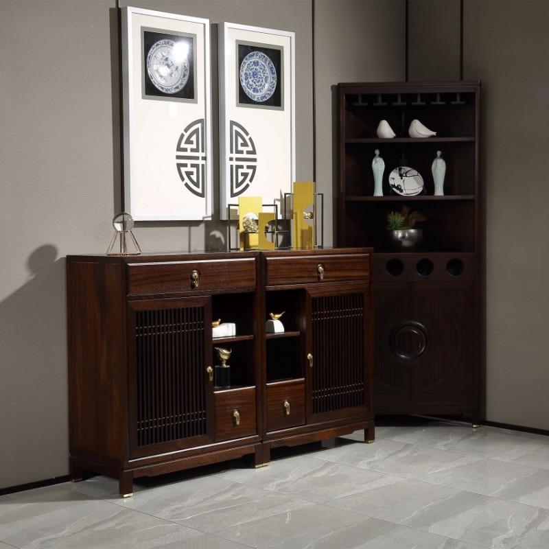 居兴闻檀实木家具客厅边柜角柜展示柜 新中式家具边柜角柜展示柜