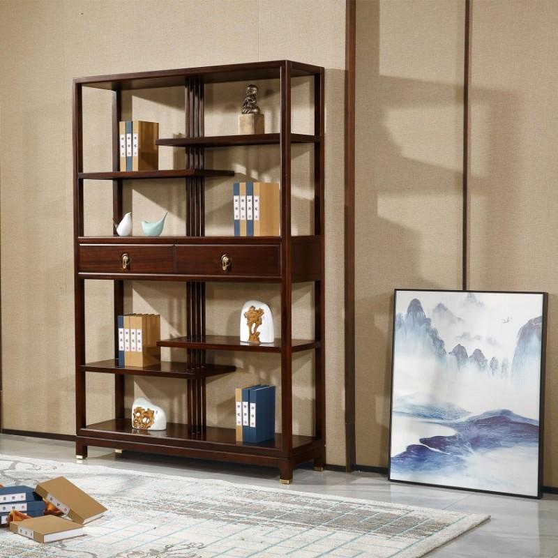 居兴闻檀实木家具书柜书架展示柜 新中式家具书架书柜展示柜