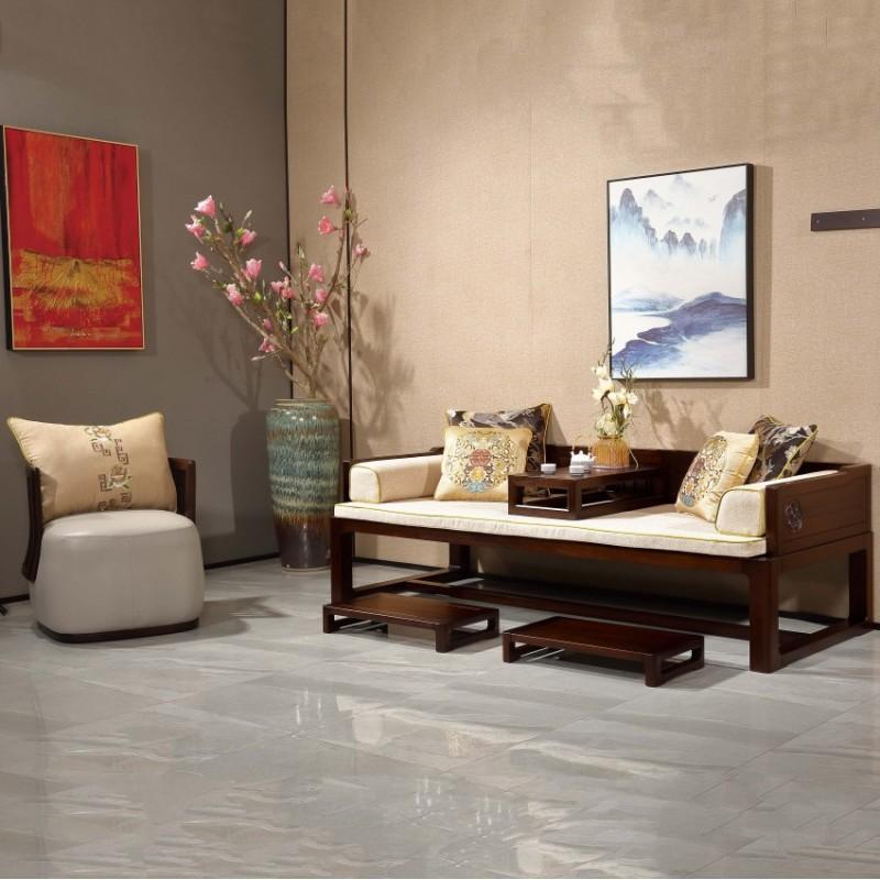 居兴闻檀实木家具罗汉床休闲椅 新中式实木家具罗汉床 休闲椅