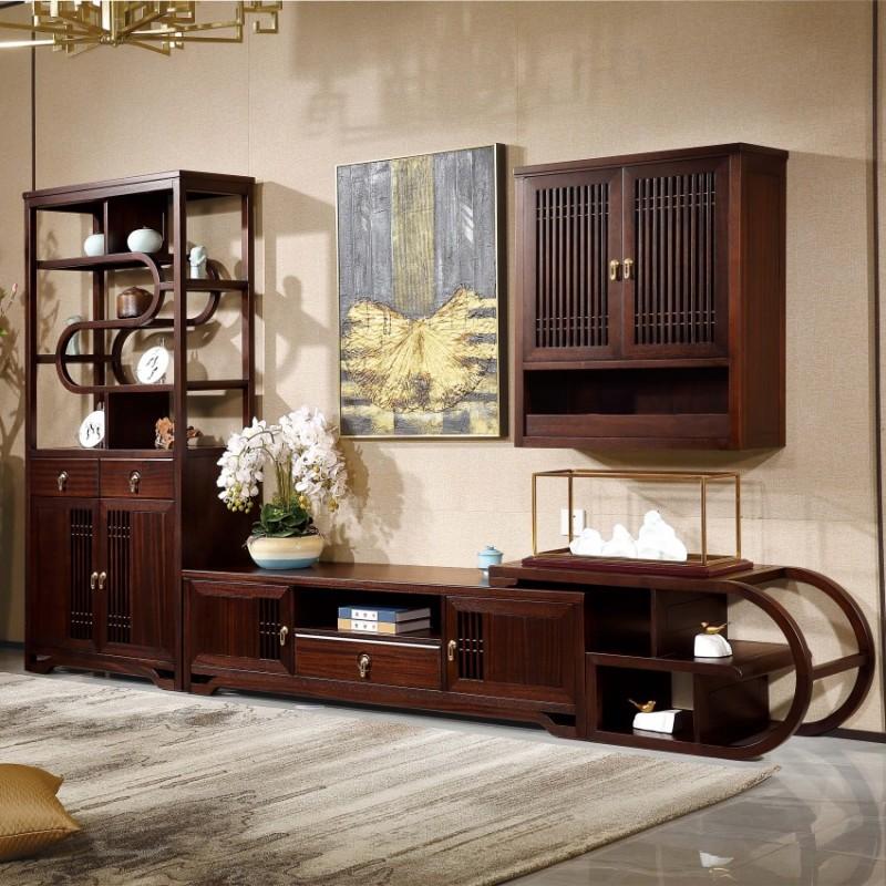 居兴闻檀实木家具电视柜地柜组合柜边柜  新中式实木家具边柜电视柜