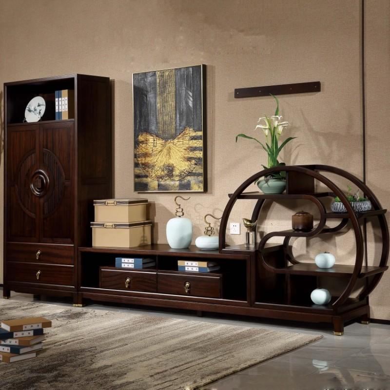 居兴闻檀实木家具电视柜地柜组合柜边柜  新中式实木家具边柜电视柜1
