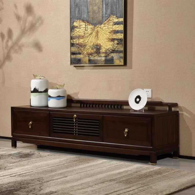 居兴闻檀实木家具电视柜地柜组合柜边柜  新中式实木家具边柜电视柜2