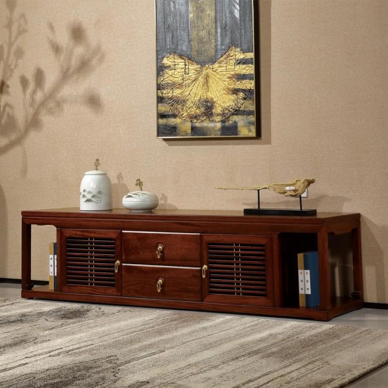 居兴闻檀实木家具电视柜地柜组合柜边柜  新中式实木家具边柜电视柜3