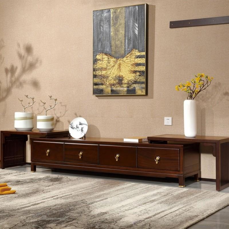 居兴闻檀实木家具电视柜地柜组合柜边柜  新中式实木家具边柜电视柜4