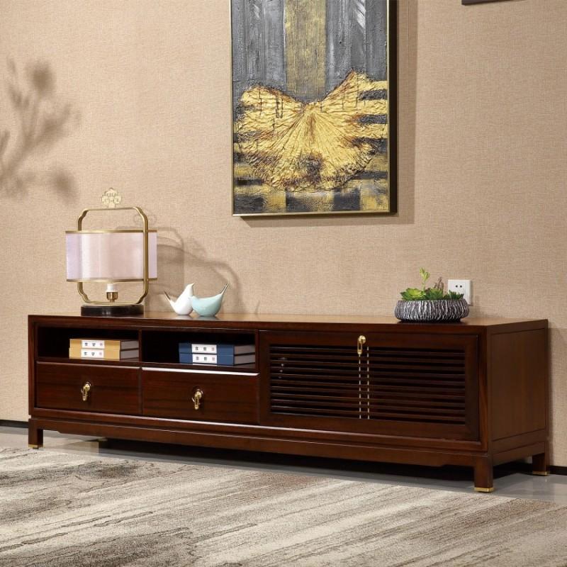 居兴闻檀实木家具电视柜地柜组合柜边柜  新中式实木家具边柜电视柜5