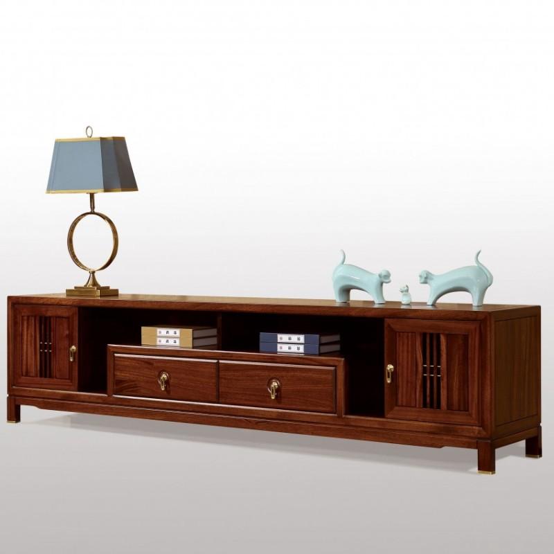 居兴闻檀实木家具电视柜地柜组合柜边柜  新中式实木家具边柜电视柜6