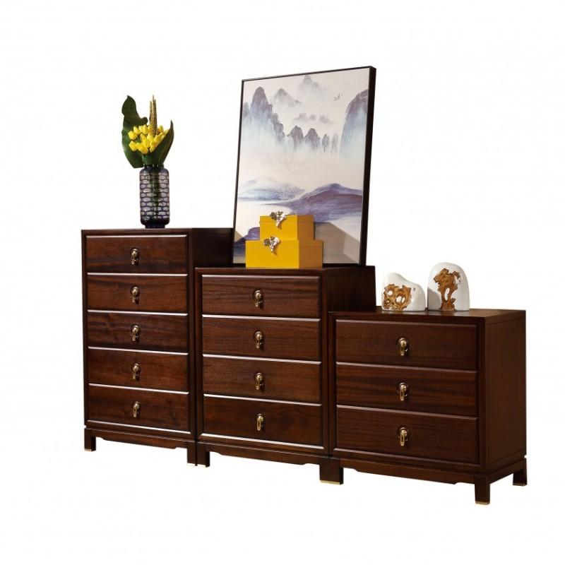 居兴闻檀实木家具斗柜组合柜边柜  新中式实木家具边柜斗柜