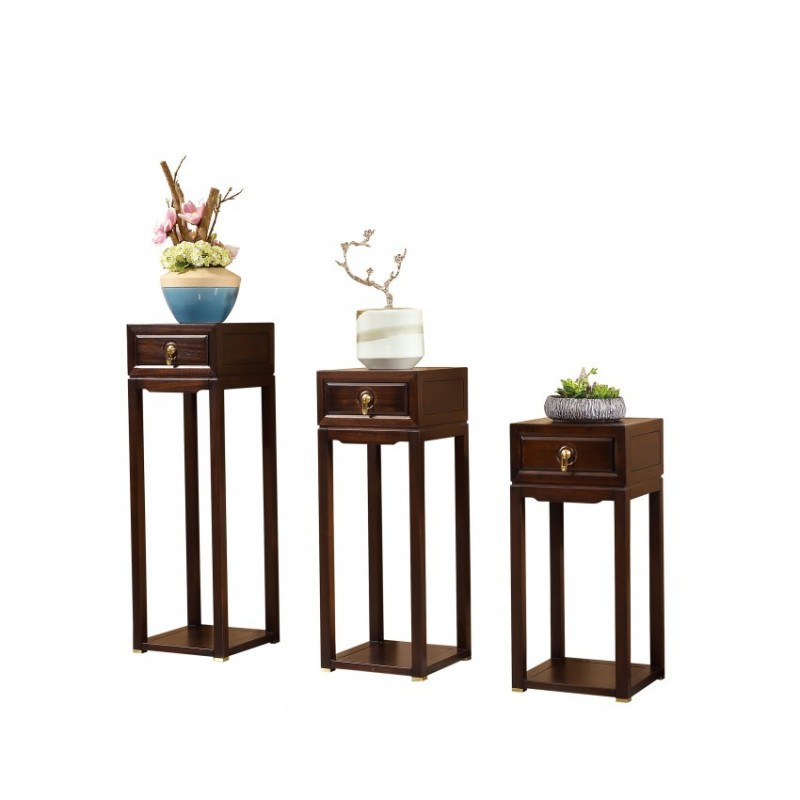 居兴闻檀实木家具客厅花架组合花架  新中式实木家具花架组合花架1