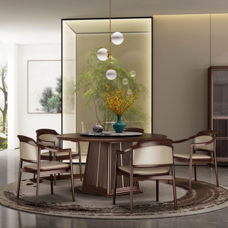 大立华锦尚新中式餐厅家具餐桌椅餐边柜立柜展示柜1
