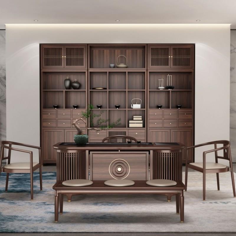 大立华锦尚新中式家具茶台茶椅茶凳展示柜