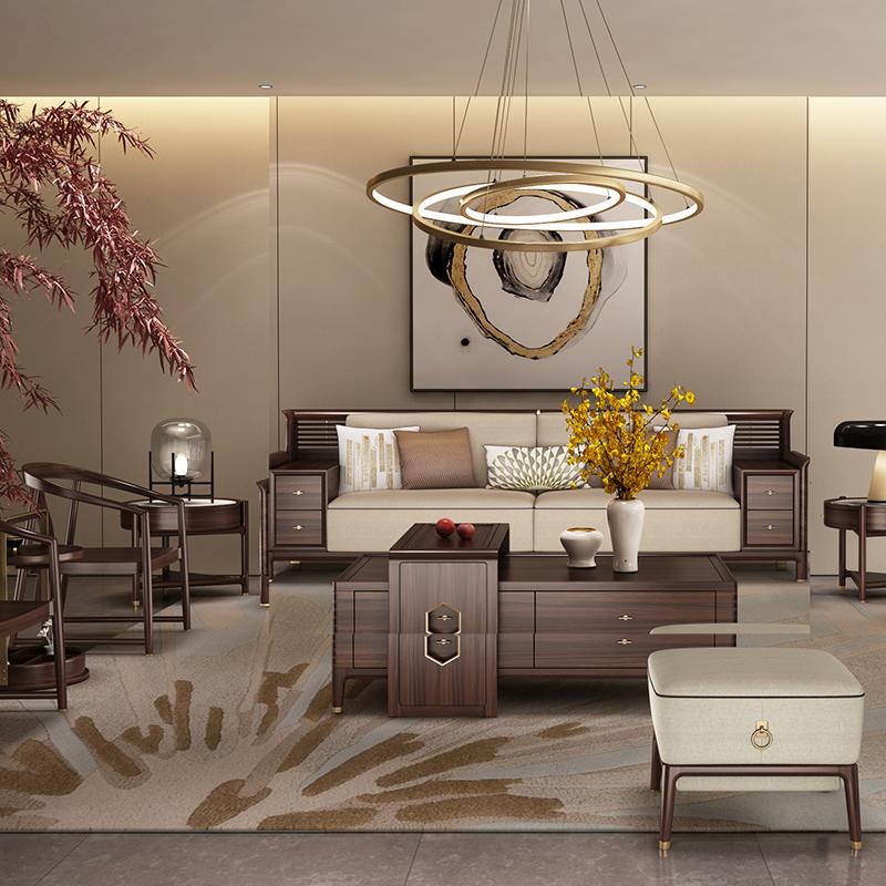 大立华锦尚新中式家具客厅沙发套茶几地柜电视柜休闲椅角几方几1
