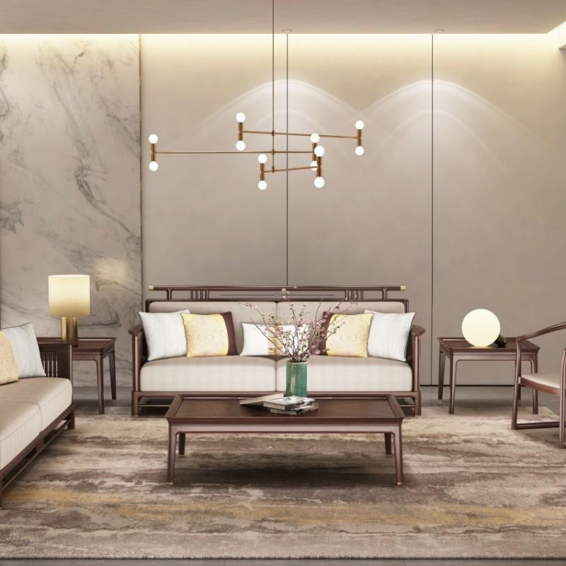 大立华锦尚新中式家具客厅沙发套茶几地柜电视柜休闲椅角几方几2