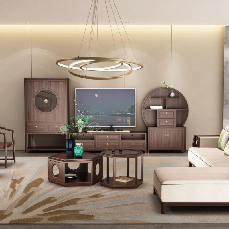 大立华锦尚新中式家具客厅沙发套茶几地柜电视柜休闲椅角几方几3