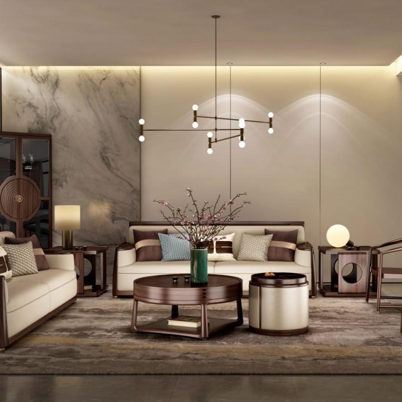 大立华锦尚新中式家具客厅沙发套茶几地柜电视柜休闲椅角几方几4