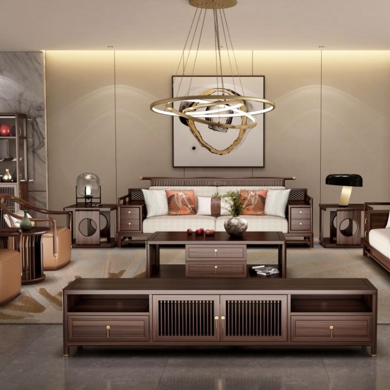 大立华锦尚新中式家具客厅沙发套茶几地柜电视柜休闲椅角几方几5