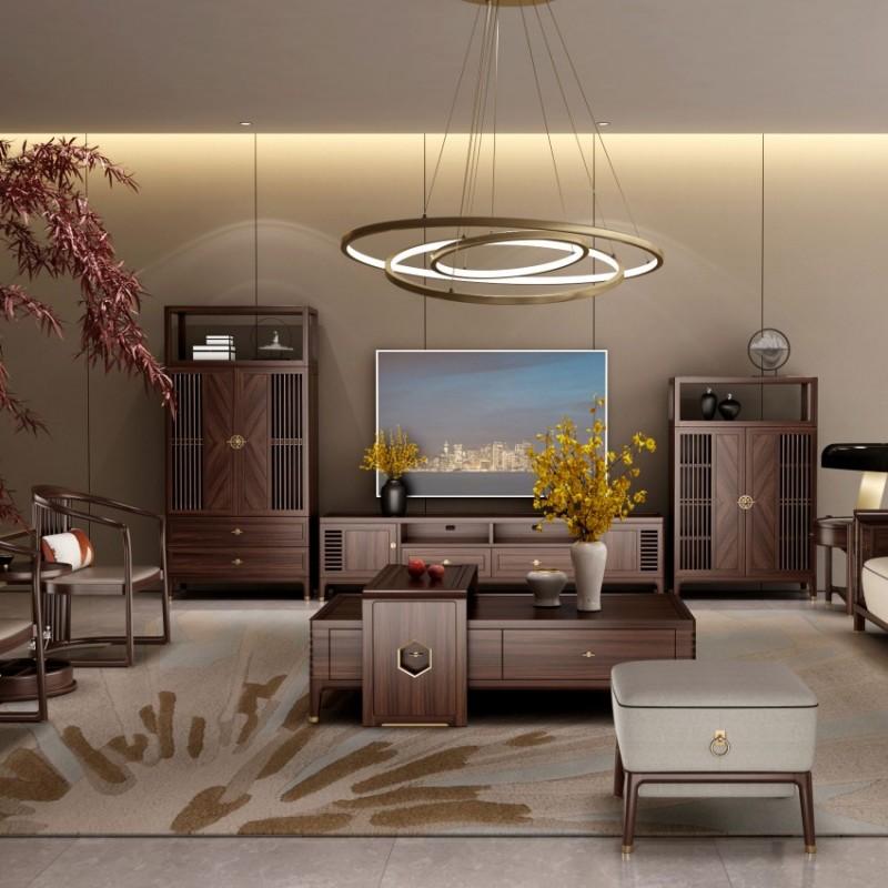 大立华锦尚新中式家具客厅沙发套茶几地柜电视柜休闲椅角几方几6