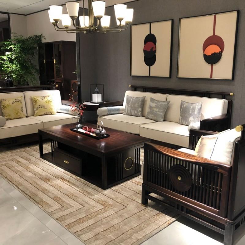 大立华锦尚新中式家具客厅沙发套茶几地柜电视柜休闲椅角几方几7