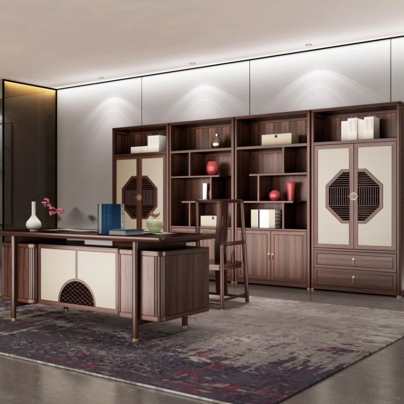 大立华锦尚新中式家具书房家具书桌书椅书柜书架展示柜书房套2