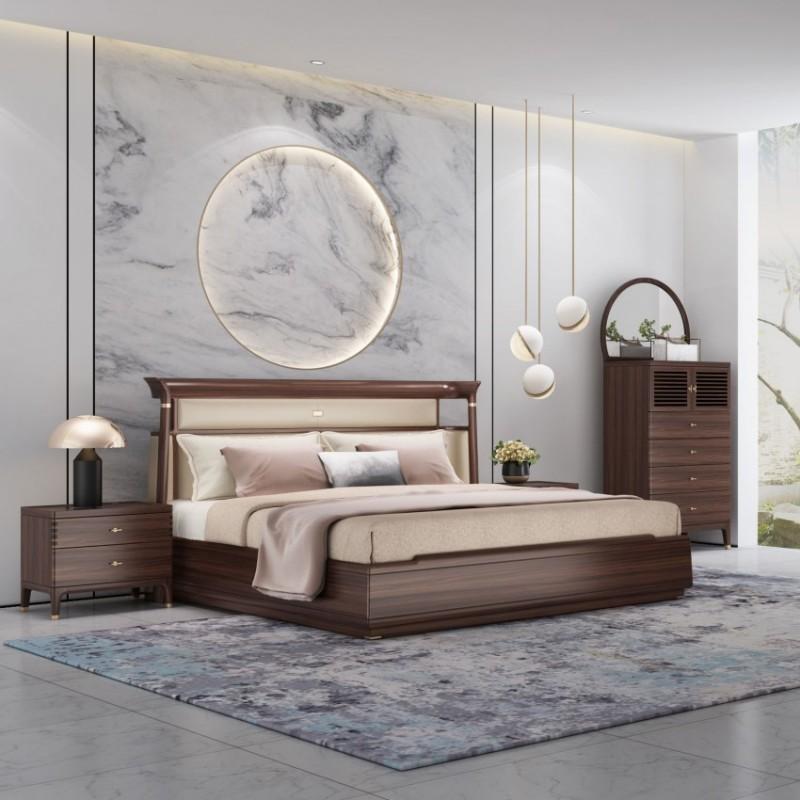 大立华锦尚新中式家具卧房套装实木床床头柜衣柜衣橱斗柜休闲椅边柜1