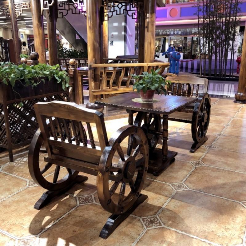 碳化木桌椅户外单人车轮桌椅阳台室外休闲桌椅