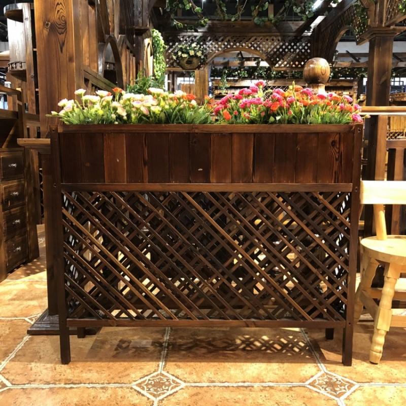 碳化木花箱防腐木隔断架子展示架实木阳台装饰品