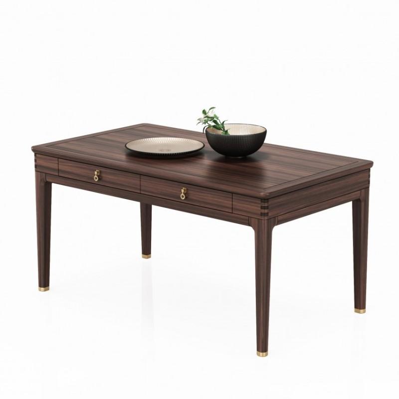 大立华锦尚餐厅长餐桌 新中式实木家具餐桌餐台
