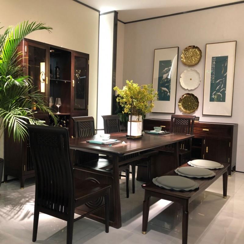 大立华锦尚新中式餐厅家具餐桌椅餐边柜立柜展示柜2