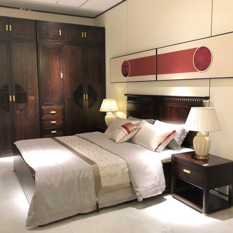 大立华锦尚新中式家具卧房套装实木床床头柜衣柜衣橱斗柜休闲椅边柜3