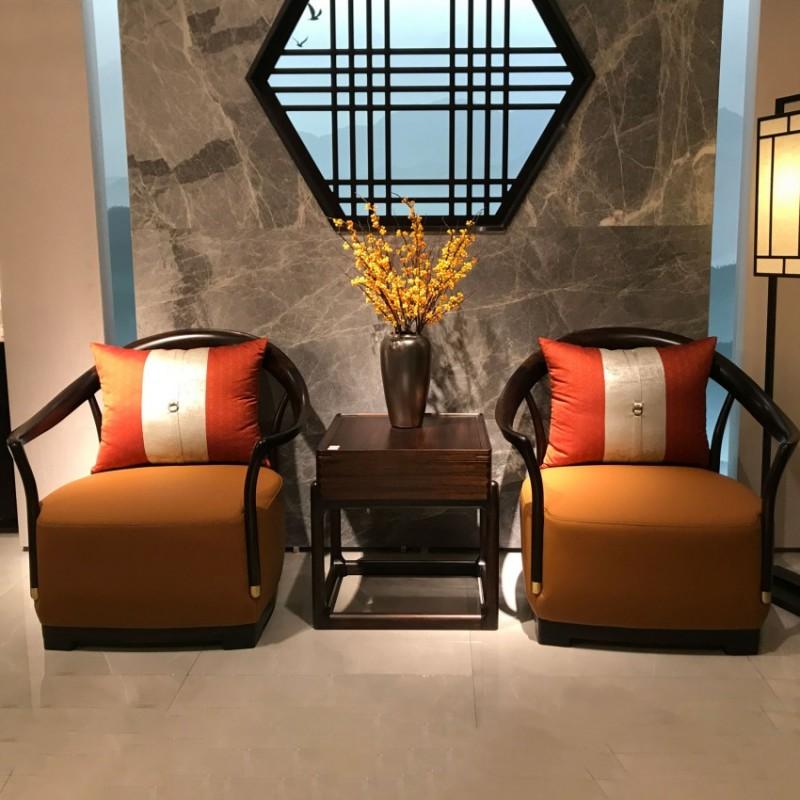 大立华锦尚新中式家具休闲椅 实木单人沙发方几角几