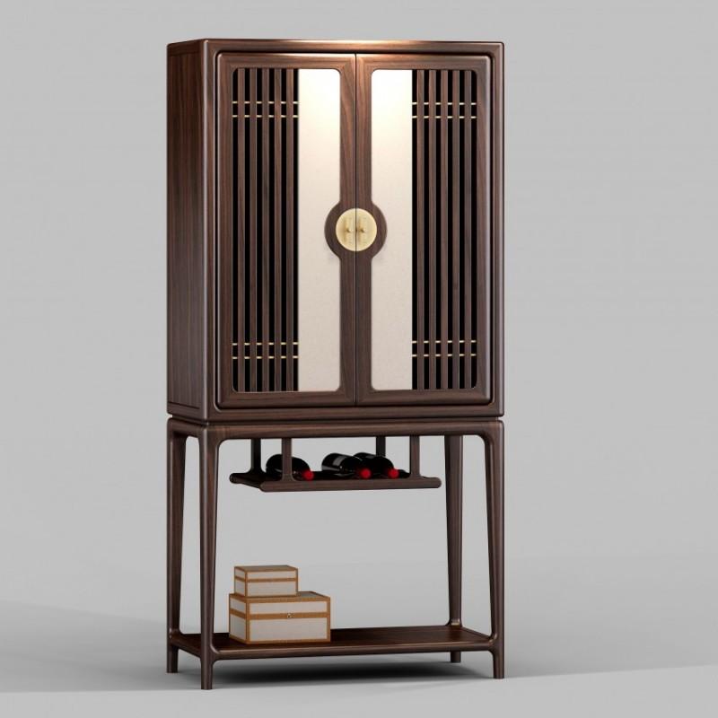 御舍新中式实木家具酒柜-1801