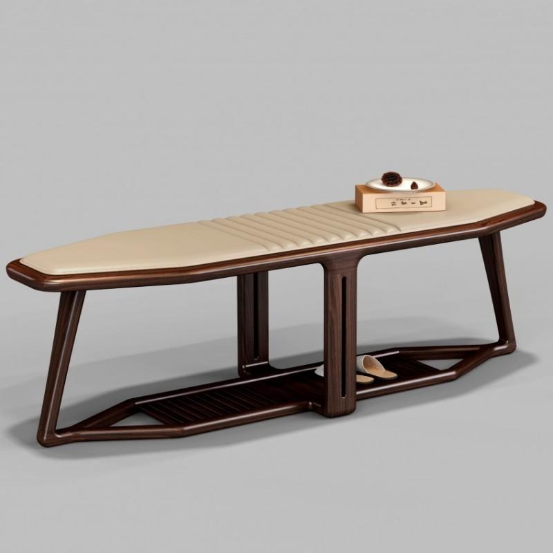 御舍新中式实木家具卧室床尾凳1801