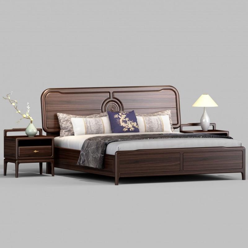 御舍新中式实木家具实木大床1802