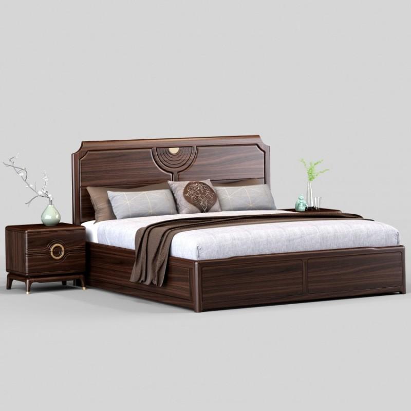 御舍新中式实木家具实木大床1805