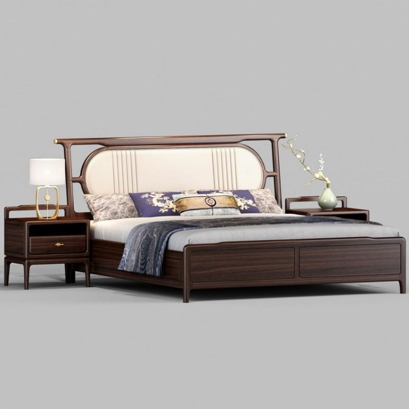 御舍新中式实木家具实木大床1806