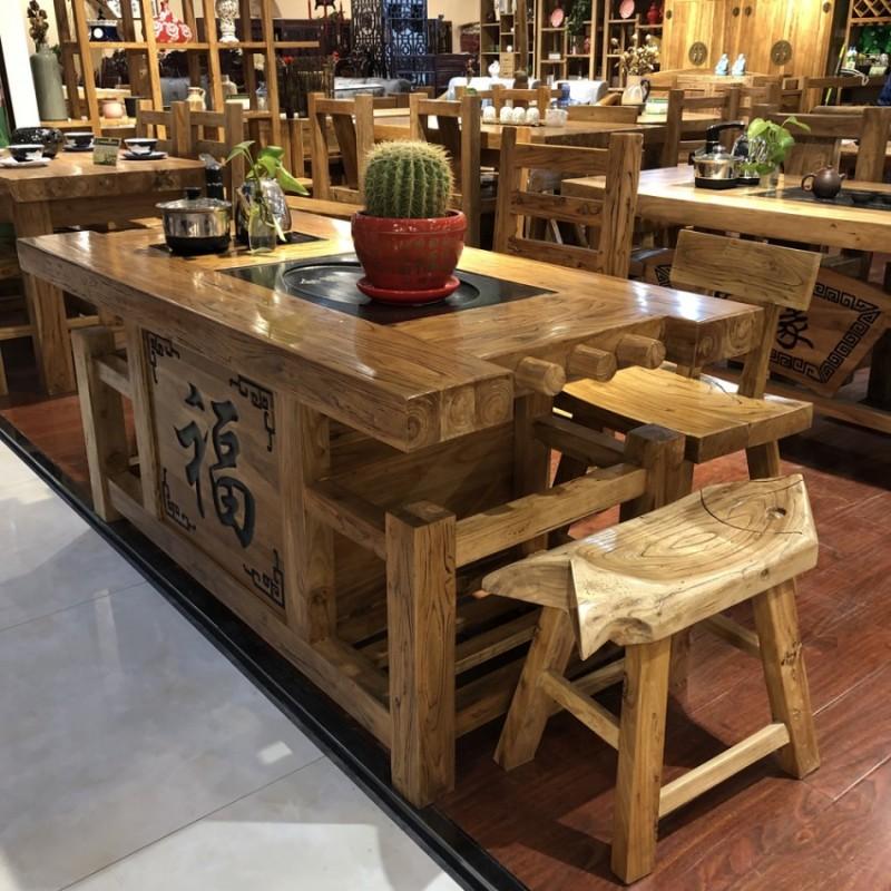新中式风化纹长方形榆木茶台CT-07