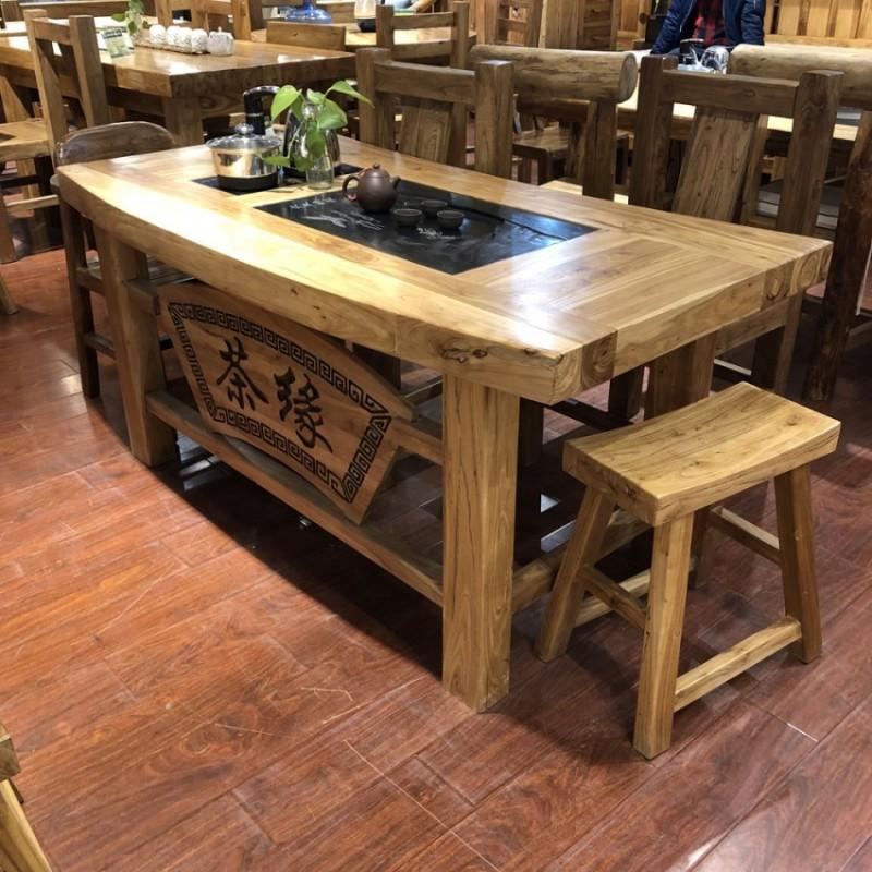 新中式风化纹榆木茶桌CT-08