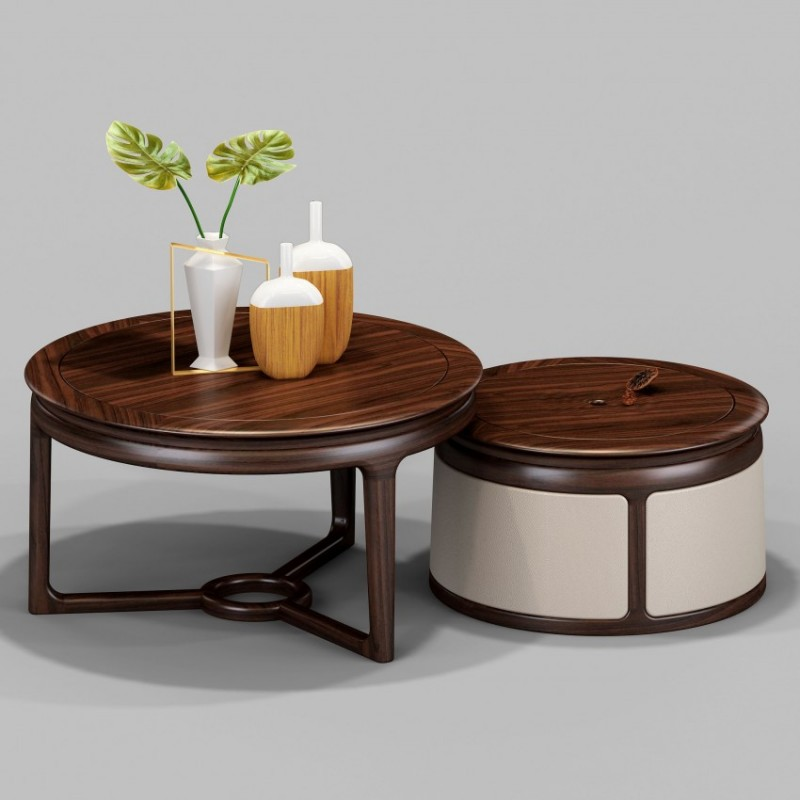 御舍新中式实木家具客厅茶几圆几1801