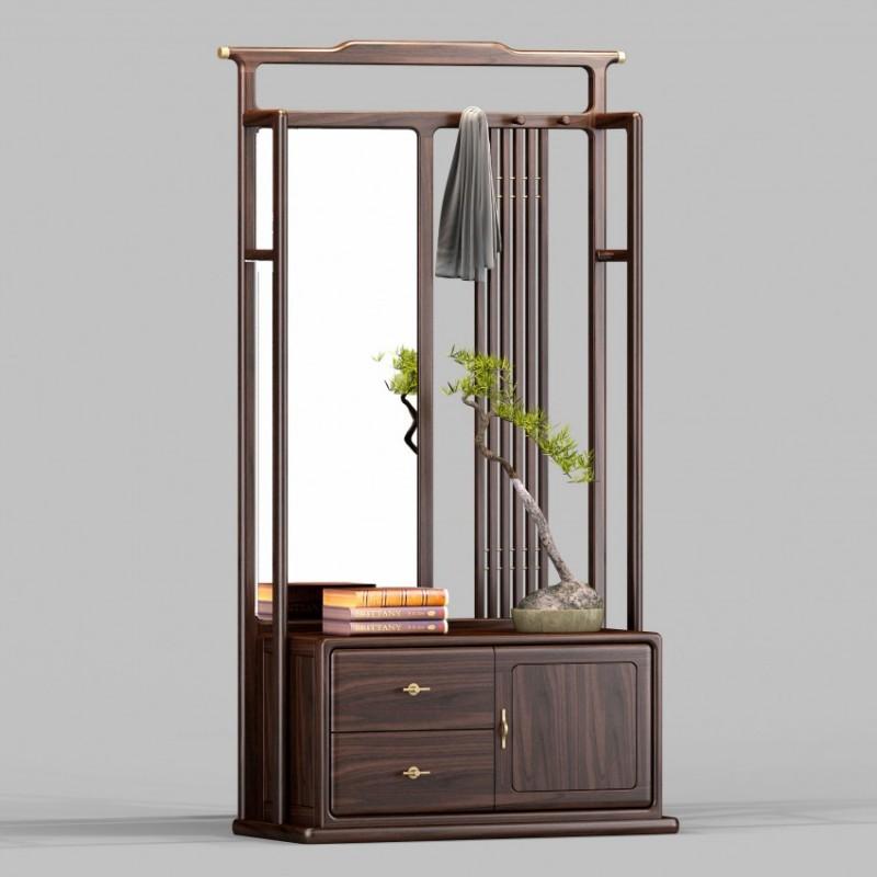 御舍新中式实木家具客厅门厅柜间厅柜1801