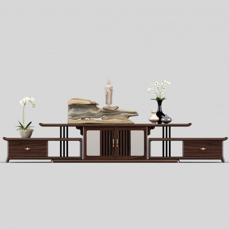 御舍新中式实木家具客厅电视柜地柜1802