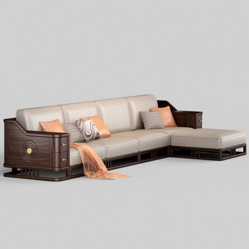 御舍新中式实木家具客厅沙发 实木转角沙发1807
