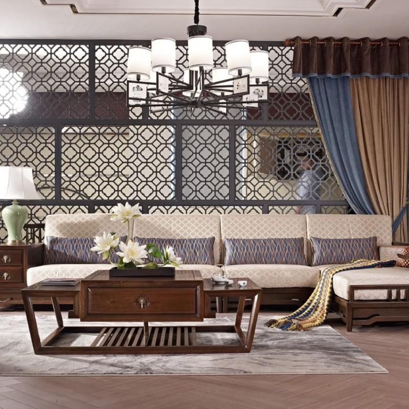 中国概念新中式实木家具客厅沙发套茶几长几306