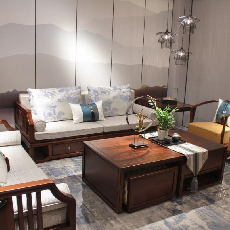 中国概念新中式实木家具客厅沙发套茶几长几303