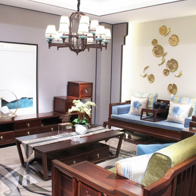 中国概念新中式实木家具客厅沙发套茶几308