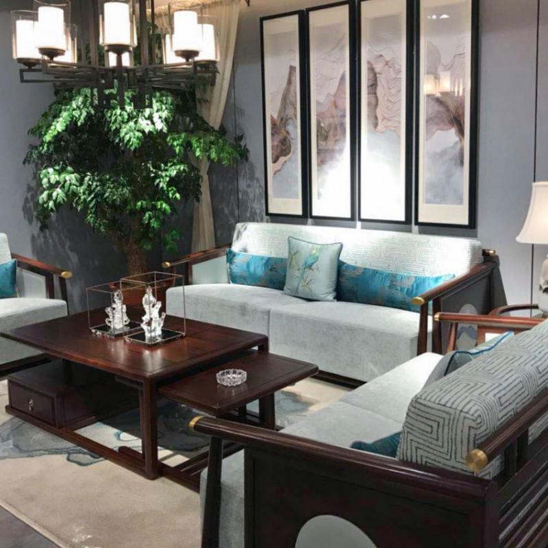 中国概念新中式实木家具客厅沙发套茶几309
