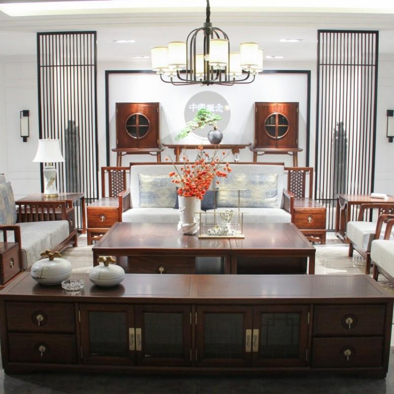 中国概念新中式实木家具客厅沙发套茶几罗汉床方几单椅311