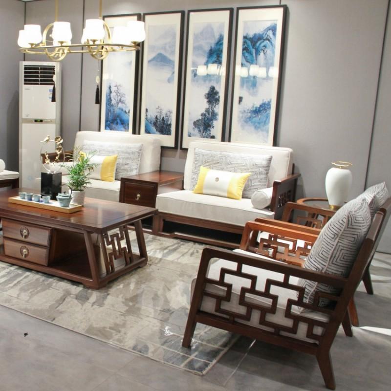 中国概念新中式实木家具客厅沙发套茶几罗汉床方几单椅313