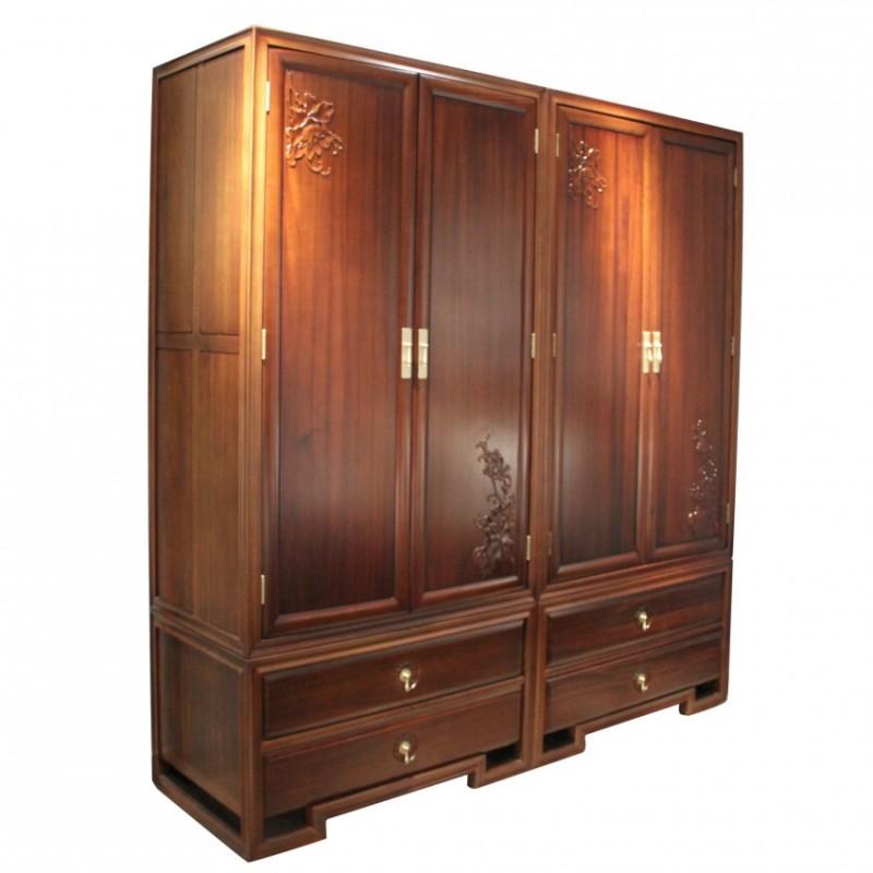 中国概念新中式实木家具卧房衣柜四门衣柜303