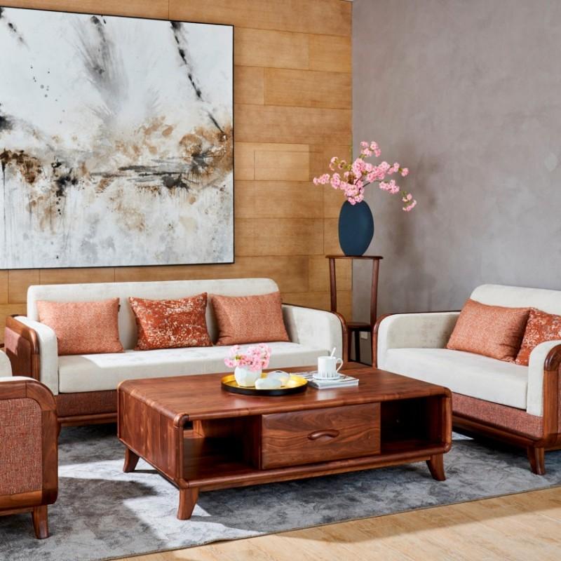 莫霞致简北欧实木家具客厅沙发组合茶几1601