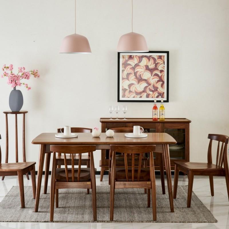 莫霞致简北欧实木家具餐厅实木餐桌1603+餐椅1601
